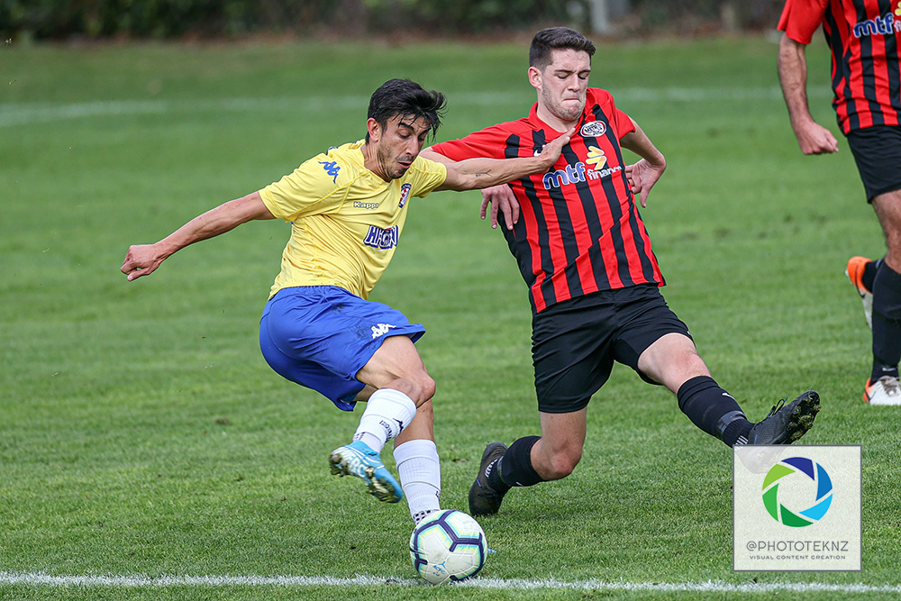 Central's Emiliano Tade lines up another shot at goal. NRFL Preseason, Central United v Metro FC, Kiwitea Street Auckland, saturday 13th June 2020. Photo: Shane Wenzlick / www.phototek.nz