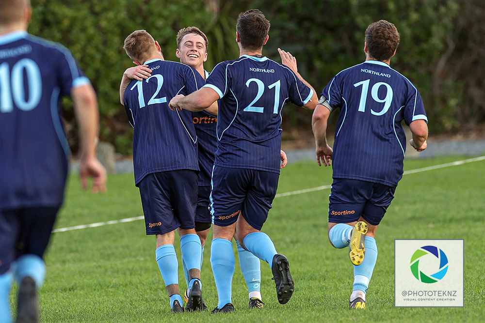 Northland celebrate their 1st goal. NRFL, Northern Region Football League Division Two, Beachlands Maraetai v Northland FC, Te Puru Park Auckland, Saturday 20th June 2020. Photo: Shane Wenzlick / www.phototek.nz