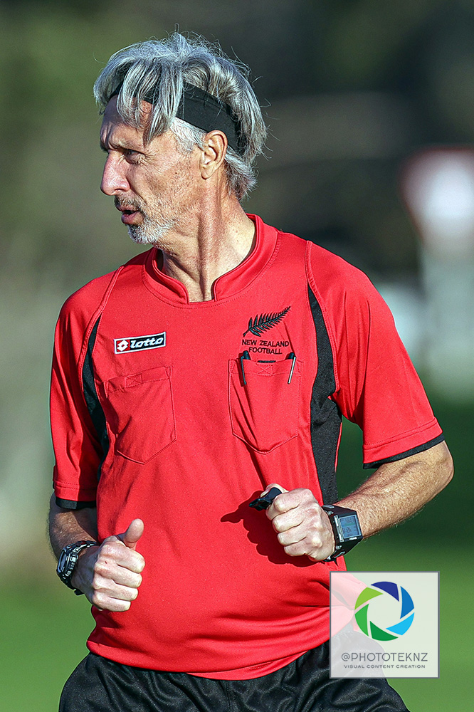 Referee Ronald Van Zuilen. NRFL, Northern Region Football League Division Two, Beachlands Maraetai v Northland FC, Te Puru Park Auckland, Saturday 20th June 2020. Photo: Shane Wenzlick / www.phototek.nz