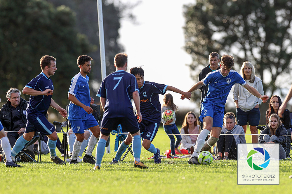 Beachlands Callum Hamilton has the ball. NRFL, Northern Region Football League Division Two, Beachlands Maraetai v Northland FC, Te Puru Park Auckland, Saturday 20th June 2020. Photo: Shane Wenzlick / www.phototek.nz