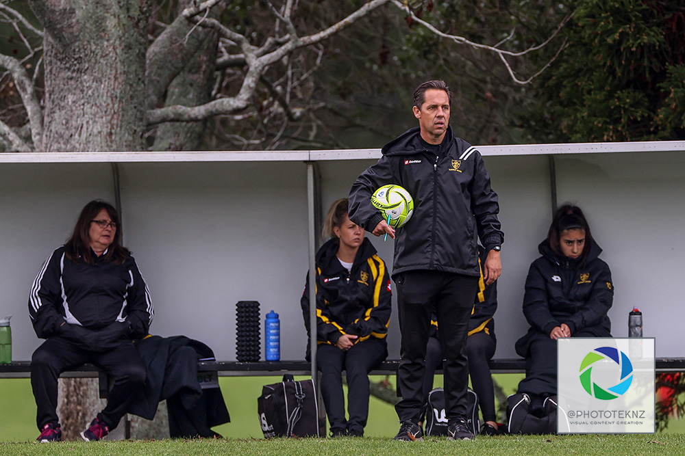 Not the start to the season Rovers coach Andrew Clay would have wanted. NRFL, Northern Region Football League, Premier Women, Glenfield Rovers v Forrest Hill Milford, McFetridge Park Auckland, Sunday 21st June 2020. Photo: Shane Wenzlick / www.phototek.nz