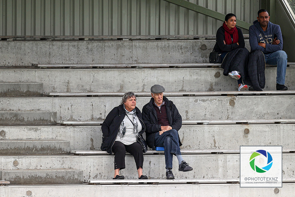 Football historian Barry Smith and his wife in the stand. NRFL Preseason, Central United v Metro FC, Kiwitea Street Auckland, saturday 13th June 2020. Photo: Shane Wenzlick / www.phototek.nz