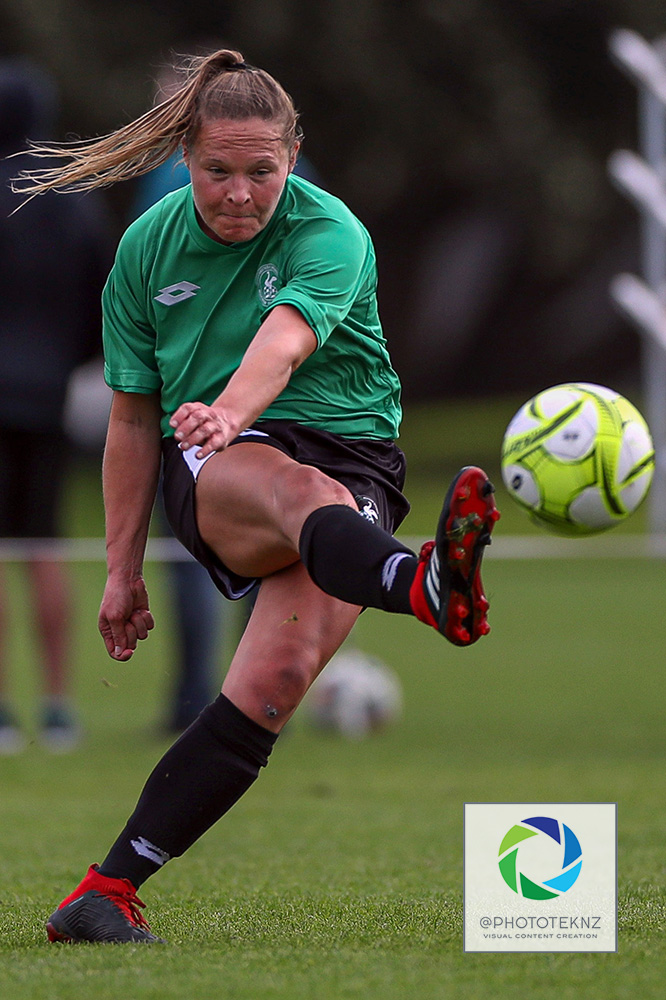 Springs Casey Berrier fires the ball up the field. NRFL, Northern Region Football League, Premier Women, Eastern Suburbs v Western Springs, Madills Farm Auckland, Sunday 5th July 2020. Photo: Shane Wenzlick / www.phototek.nz