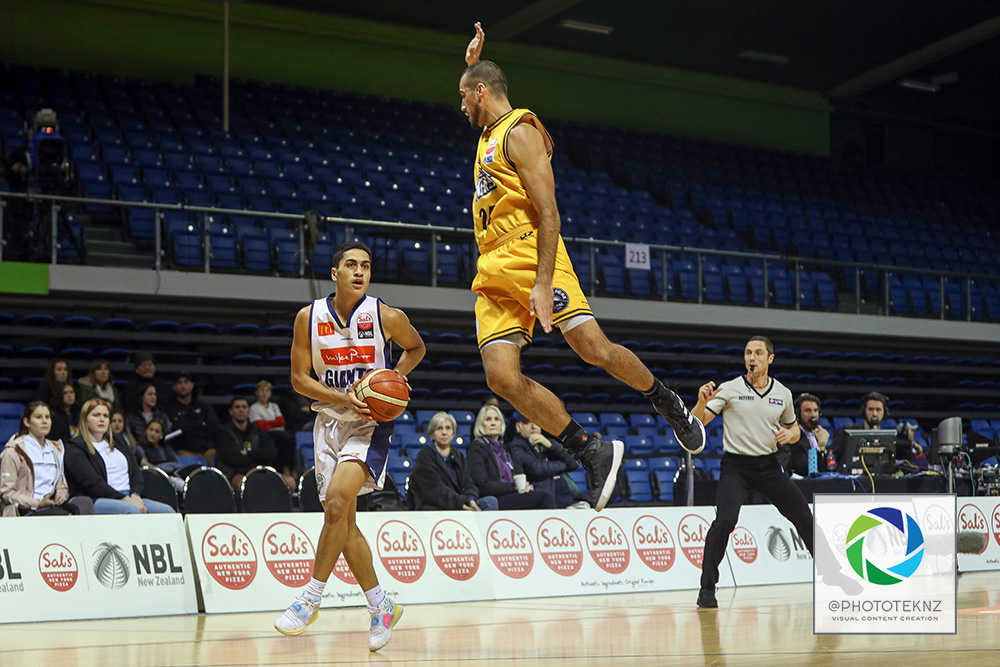 Mountainairs Shane Temara defends during the NBL match between the Taranaki Mountainairs and the Nelson Giants, National Basketball League held at Trusts Stadium, Auckland, New Zealand. 9 July 2020. Copyright Photo: Shane Wenzlick / www.photosport.nz