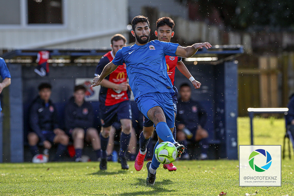 Onehunga's Osman Rastagar on the ball. NRFL, Northern Region Football League, Division 2, Fencibles United v Onehunga Mangere United, Riverhills Park Auckland, Saturday 11th July 2020. Photo: Shane Wenzlick / www.phototek.nz